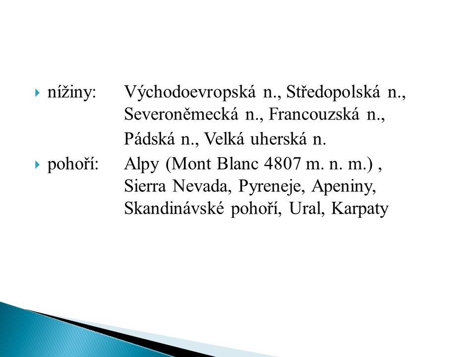  nížiny: Východoevropská n., Středopolská n., Severoněmecká n., Francouzská n., Pádská n., Velká uherská n.  pohoří: Alpy (Mont Blanc 4807 m. n. m.)