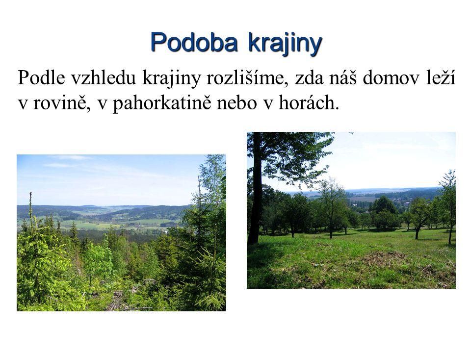 Podoba krajiny Podle vzhledu krajiny rozlišíme, zda náš domov leží v rovině, v pahorkatině nebo v horách.