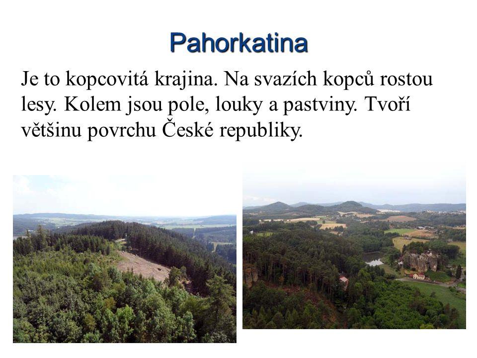 Pahorkatina Je to kopcovitá krajina. Na svazích kopců rostou lesy. Kolem jsou pole, louky a pastviny. Tvoří většinu povrchu České republiky.