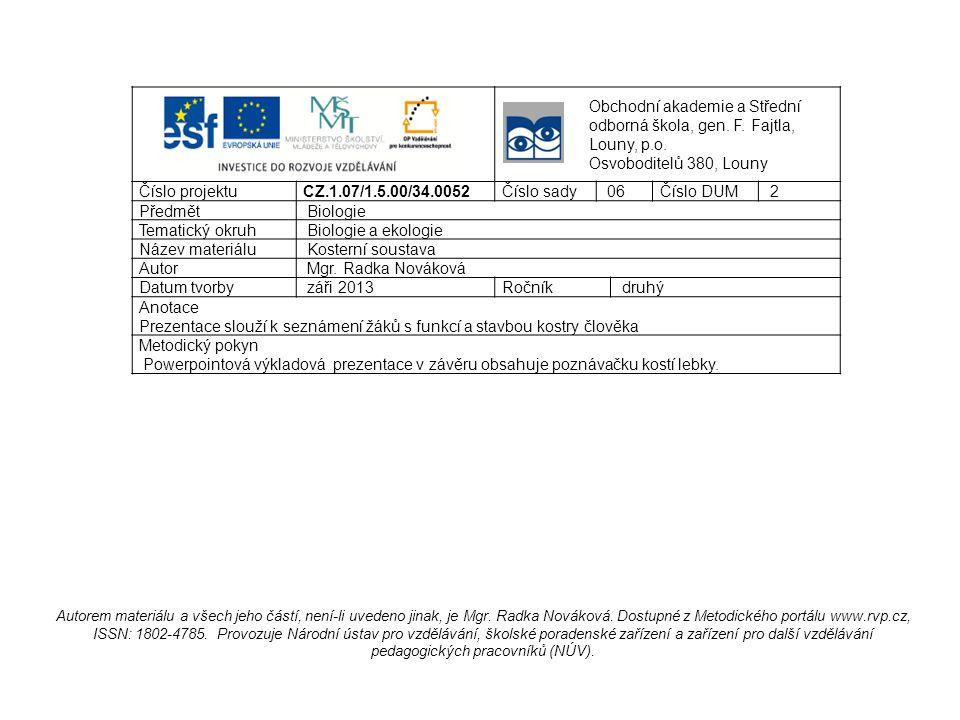 Obchodní akademie a Střední odborná škola, gen. F. Fajtla, Louny, p.o. Osvoboditelů 380, Louny Číslo projektu CZ.1.07/1.5.00/34.0052Číslo sady 06Číslo