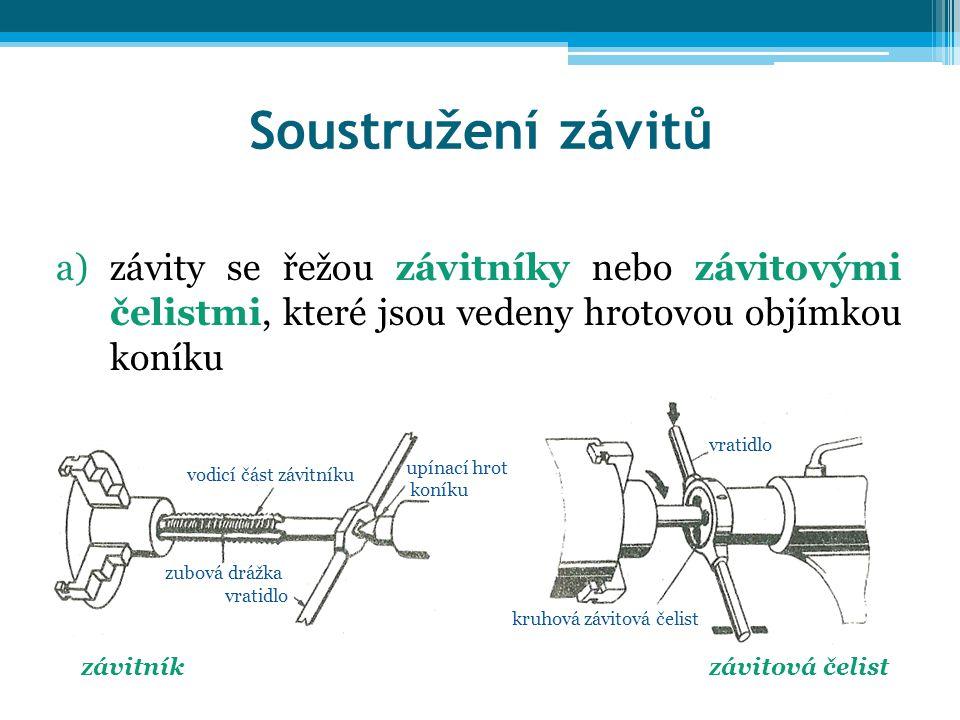 Soustružení závitů a)závity se řežou závitníky nebo závitovými čelistmi, které jsou vedeny hrotovou objímkou koníku závitníkzávitová čelist vodicí čás
