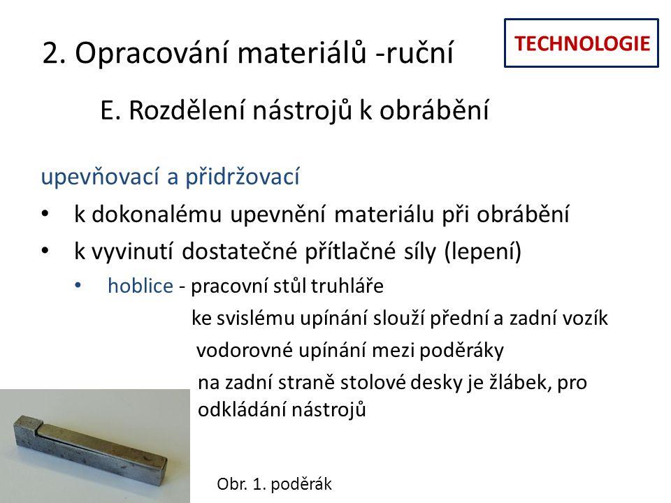 TECHNOLOGIE 2. Opracování materiálů -ruční E. Rozdělení nástrojů k obrábění upevňovací a přidržovací k dokonalému upevnění materiálu při obrábění k vy