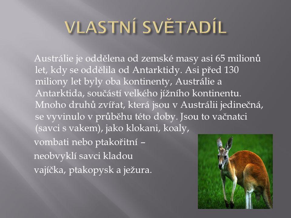 Austrálie je oddělena od zemské masy asi 65 milionů let, kdy se oddělila od Antarktidy. Asi před 130 miliony let byly oba kontinenty, Austrálie a Anta