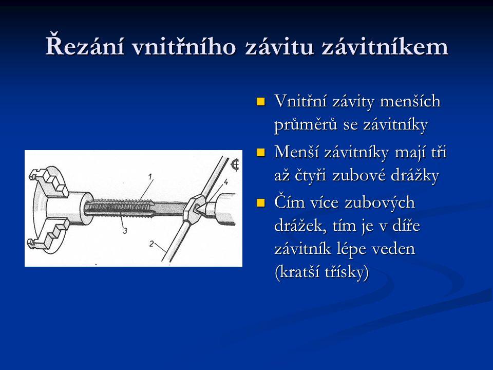 Řezání vnitřního závitu závitníkem Vnitřní závity menších průměrů se závitníky Menší závitníky mají tři až čtyři zubové drážky Čím více zubových drážek, tím je v díře závitník lépe veden (kratší třísky)