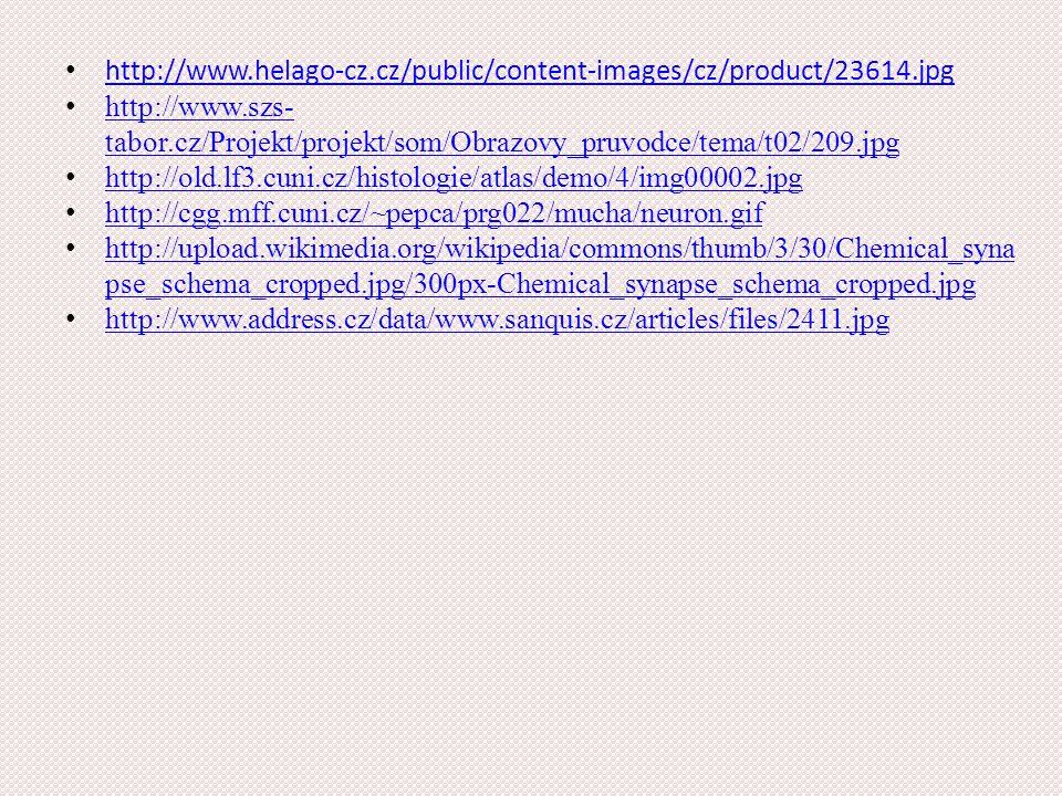 http://www.helago-cz.cz/public/content-images/cz/product/23614.jpg http://www.szs- tabor.cz/Projekt/projekt/som/Obrazovy_pruvodce/tema/t02/209.jpg http://www.szs- tabor.cz/Projekt/projekt/som/Obrazovy_pruvodce/tema/t02/209.jpg http://old.lf3.cuni.cz/histologie/atlas/demo/4/img00002.jpg http://cgg.mff.cuni.cz/~pepca/prg022/mucha/neuron.gif http://upload.wikimedia.org/wikipedia/commons/thumb/3/30/Chemical_syna pse_schema_cropped.jpg/300px-Chemical_synapse_schema_cropped.jpg http://upload.wikimedia.org/wikipedia/commons/thumb/3/30/Chemical_syna pse_schema_cropped.jpg/300px-Chemical_synapse_schema_cropped.jpg http://www.address.cz/data/www.sanquis.cz/articles/files/2411.jpg
