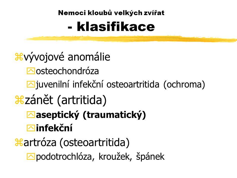 Nemoci kloubů velkých zvířat - klasifikace zvývojové anomálie yosteochondróza yjuvenilní infekční osteoartritida (ochroma) zzánět (artritida) yaseptický (traumatický) yinfekční zartróza (osteoartritida) ypodotrochlóza, kroužek, špánek