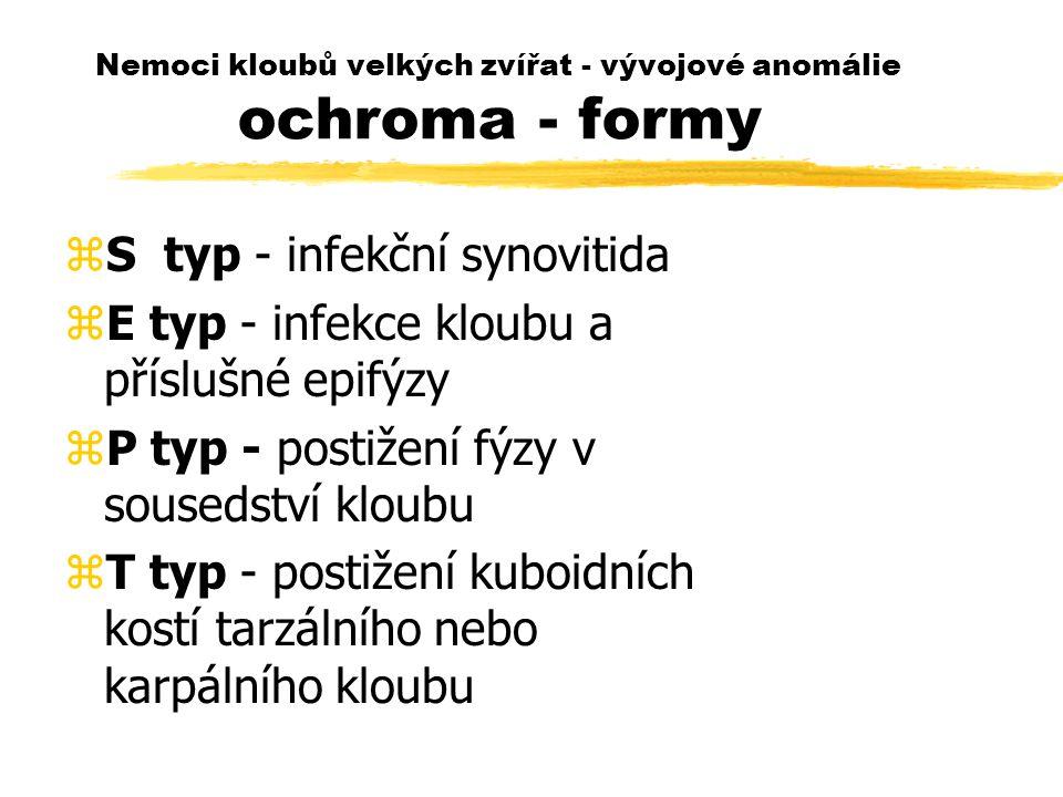 Nemoci kloubů velkých zvířat - vývojové anomálie ochroma - formy zS typ - infekční synovitida zE typ - infekce kloubu a příslušné epifýzy zP typ - postižení fýzy v sousedství kloubu zT typ - postižení kuboidních kostí tarzálního nebo karpálního kloubu