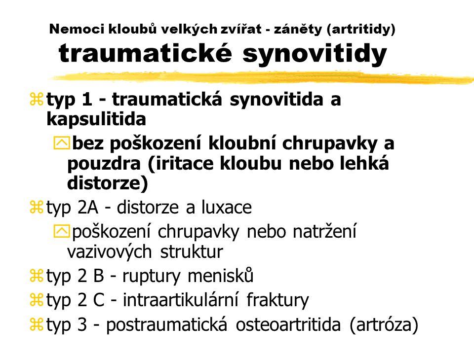 Nemoci kloubů velkých zvířat - záněty (artritidy) traumatické synovitidy ztyp 1 - traumatická synovitida a kapsulitida ybez poškození kloubní chrupavky a pouzdra (iritace kloubu nebo lehká distorze) ztyp 2A - distorze a luxace ypoškození chrupavky nebo natržení vazivových struktur ztyp 2 B - ruptury menisků ztyp 2 C - intraartikulární fraktury ztyp 3 - postraumatická osteoartritida (artróza)