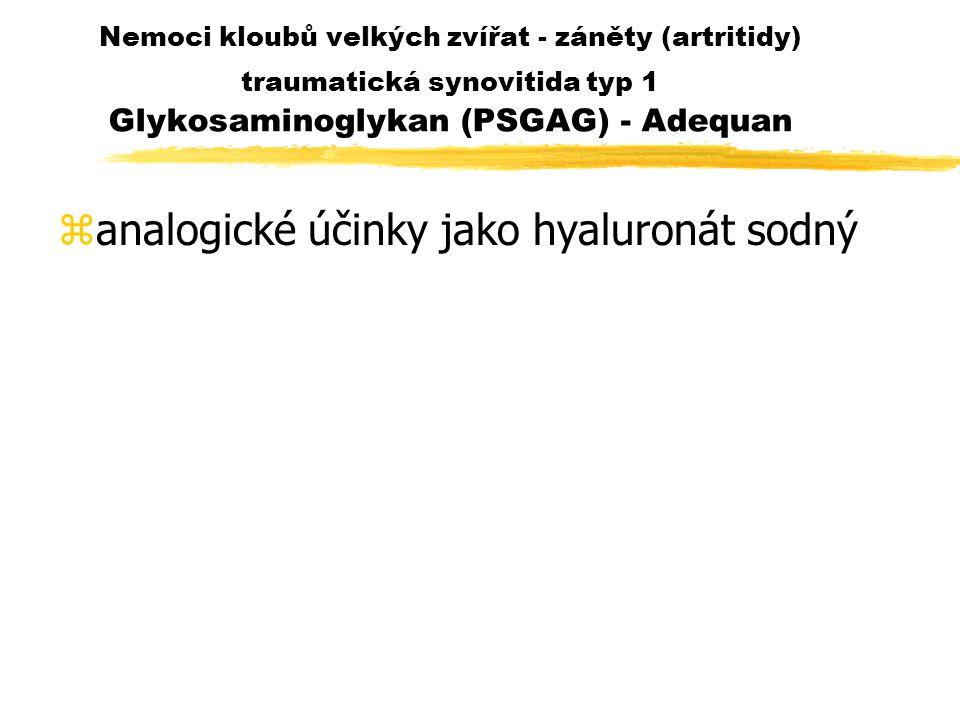 Nemoci kloubů velkých zvířat - záněty (artritidy) traumatická synovitida typ 1 Glykosaminoglykan (PSGAG) - Adequan zanalogické účinky jako hyaluronát sodný