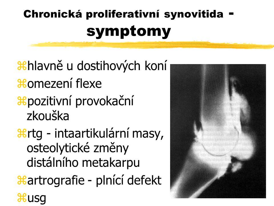 Chronická proliferativní synovitida - symptomy zhlavně u dostihových koní zomezení flexe zpozitivní provokační zkouška zrtg - intaartikulární masy, osteolytické změny distálního metakarpu zartrografie - plnící defekt zusg