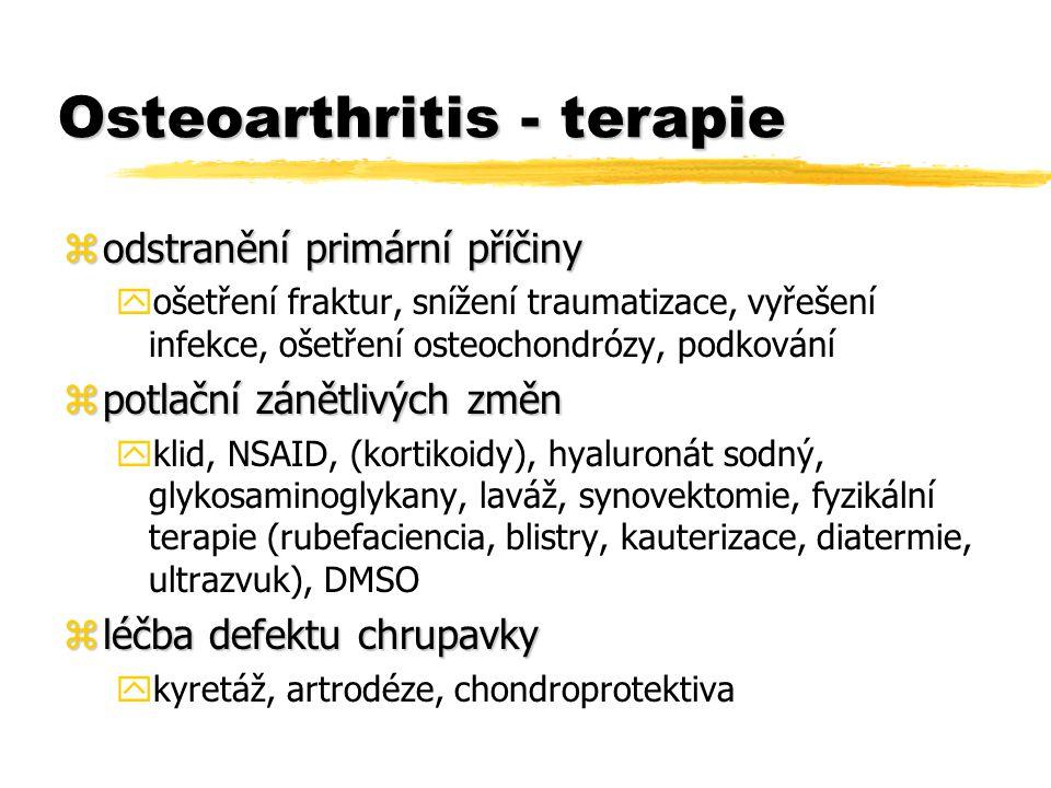 Osteoarthritis - terapie zodstranění primární příčiny yošetření fraktur, snížení traumatizace, vyřešení infekce, ošetření osteochondrózy, podkování zpotlační zánětlivých změn yklid, NSAID, (kortikoidy), hyaluronát sodný, glykosaminoglykany, laváž, synovektomie, fyzikální terapie (rubefaciencia, blistry, kauterizace, diatermie, ultrazvuk), DMSO zléčba defektu chrupavky ykyretáž, artrodéze, chondroprotektiva