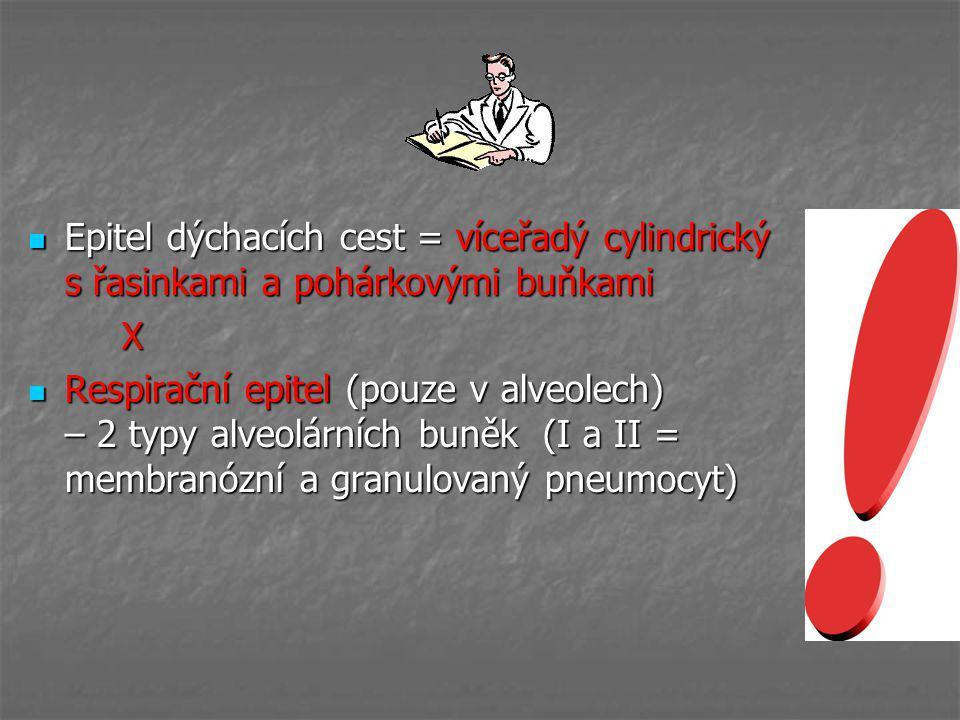 Epitel dýchacích cest = víceřadý cylindrický s řasinkami a pohárkovými buňkami Epitel dýchacích cest = víceřadý cylindrický s řasinkami a pohárkovými