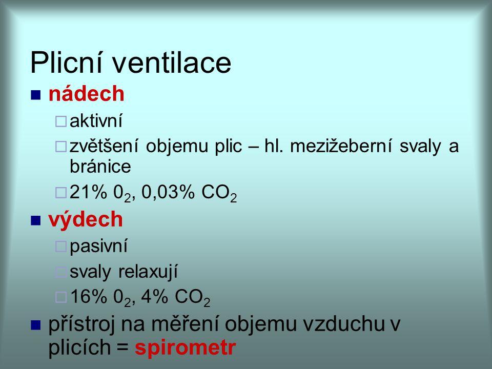 Plicní ventilace nádech  aktivní  zvětšení objemu plic – hl. mezižeberní svaly a bránice  21% 0 2, 0,03% CO 2 výdech  pasivní  svaly relaxují  1