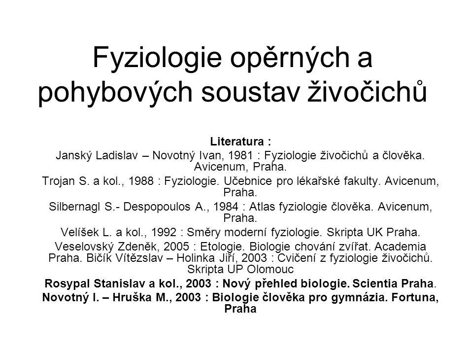 Fyziologie opěrných a pohybových soustav živočichů Literatura : Janský Ladislav – Novotný Ivan, 1981 : Fyziologie živočichů a člověka. Avicenum, Praha