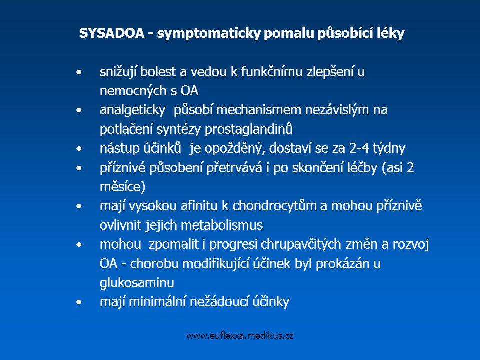 www.euflexxa.medikus.cz SYSADOA - symptomaticky pomalu působící léky snižují bolest a vedou k funkčnímu zlepšení u nemocných s OA analgeticky působí m