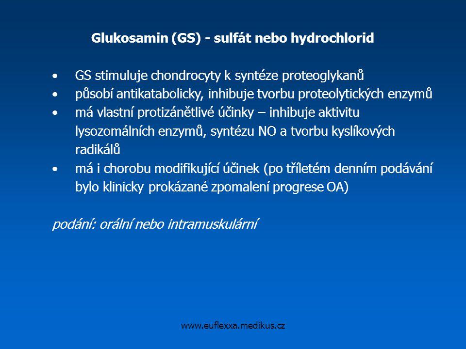 Glukosamin (GS) - sulfát nebo hydrochlorid GS stimuluje chondrocyty k syntéze proteoglykanů působí antikatabolicky, inhibuje tvorbu proteolytických en