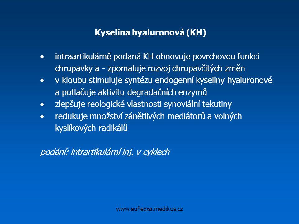 www.euflexxa.medikus.cz Kyselina hyaluronová (KH) intraartikulárně podaná KH obnovuje povrchovou funkci chrupavky a - zpomaluje rozvoj chrupavčitých z