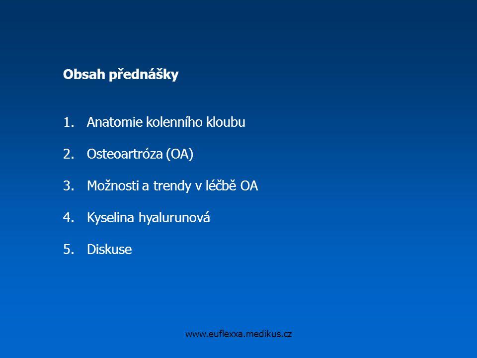 www.euflexxa.medikus.cz Obsah přednášky 1.Anatomie kolenního kloubu 2.Osteoartróza (OA) 3.Možnosti a trendy v léčbě OA 4.Kyselina hyalurunová 5.Diskus