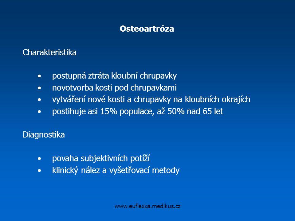 www.euflexxa.medikus.cz Osteoartróza Charakteristika postupná ztráta kloubní chrupavky novotvorba kosti pod chrupavkami vytváření nové kosti a chrupav