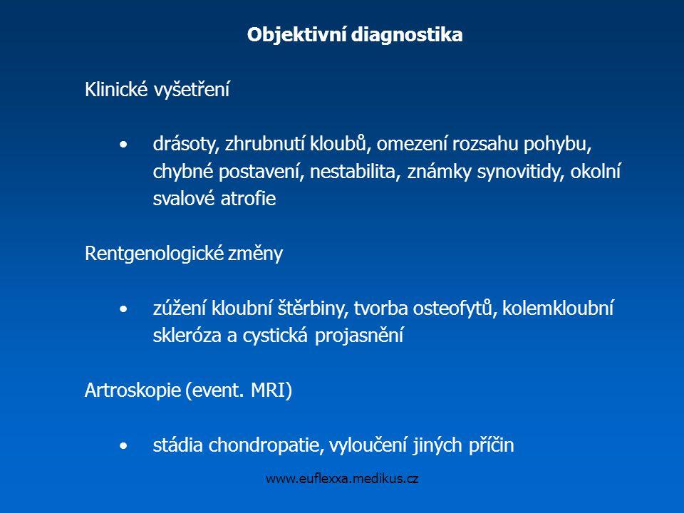 www.euflexxa.medikus.cz Objektivní diagnostika Klinické vyšetření drásoty, zhrubnutí kloubů, omezení rozsahu pohybu, chybné postavení, nestabilita, zn