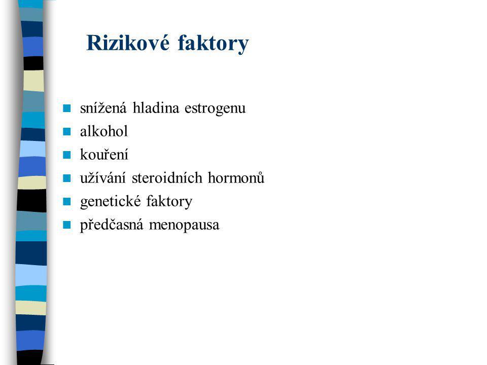 Rizikové faktory snížená hladina estrogenu alkohol kouření užívání steroidních hormonů genetické faktory předčasná menopausa