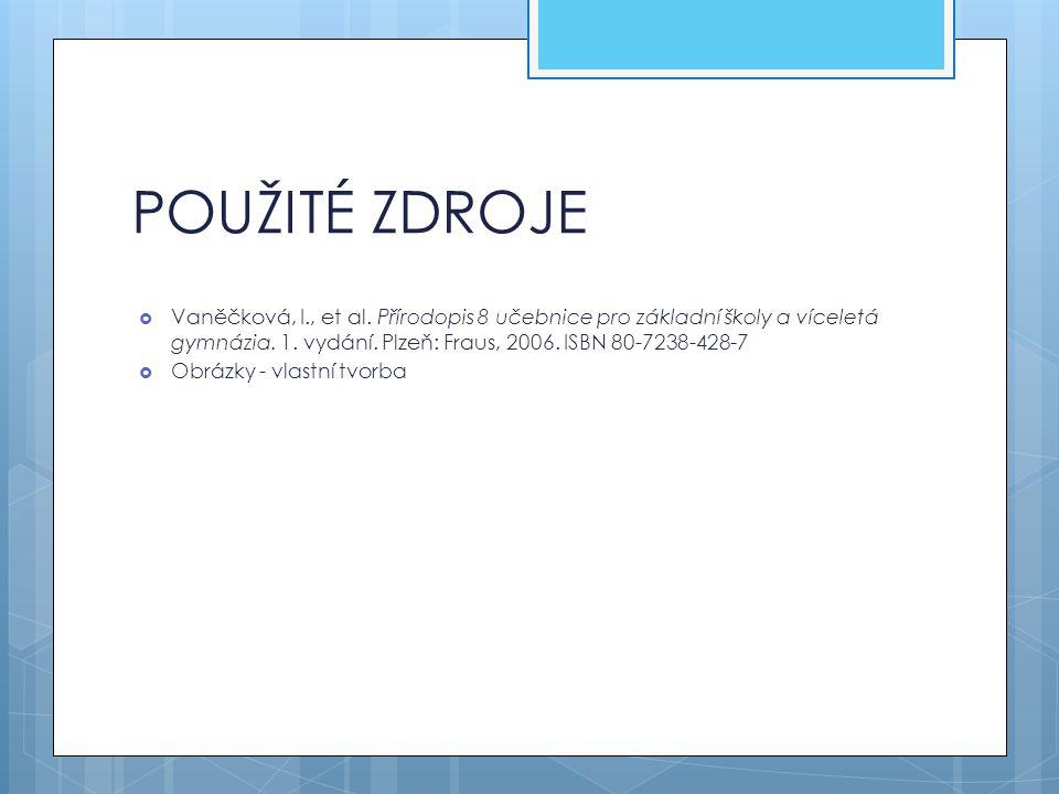 POUŽITÉ ZDROJE  Vaněčková, I., et al. Přírodopis 8 učebnice pro základní školy a víceletá gymnázia. 1. vydání. Plzeň: Fraus, 2006. ISBN 80-7238-428-7