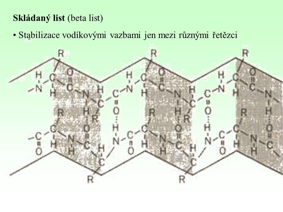 Skládaný list (beta list) Stabilizace vodíkovými vazbami jen mezi různými řetězci