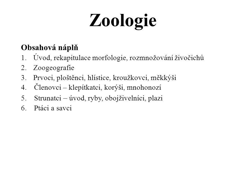 Zoologie Obsahová náplň 1.Úvod, rekapitulace morfologie, rozmnožování živočichů 2.Zoogeografie 3.Prvoci, ploštěnci, hlístice, kroužkovci, měkkýši 4.