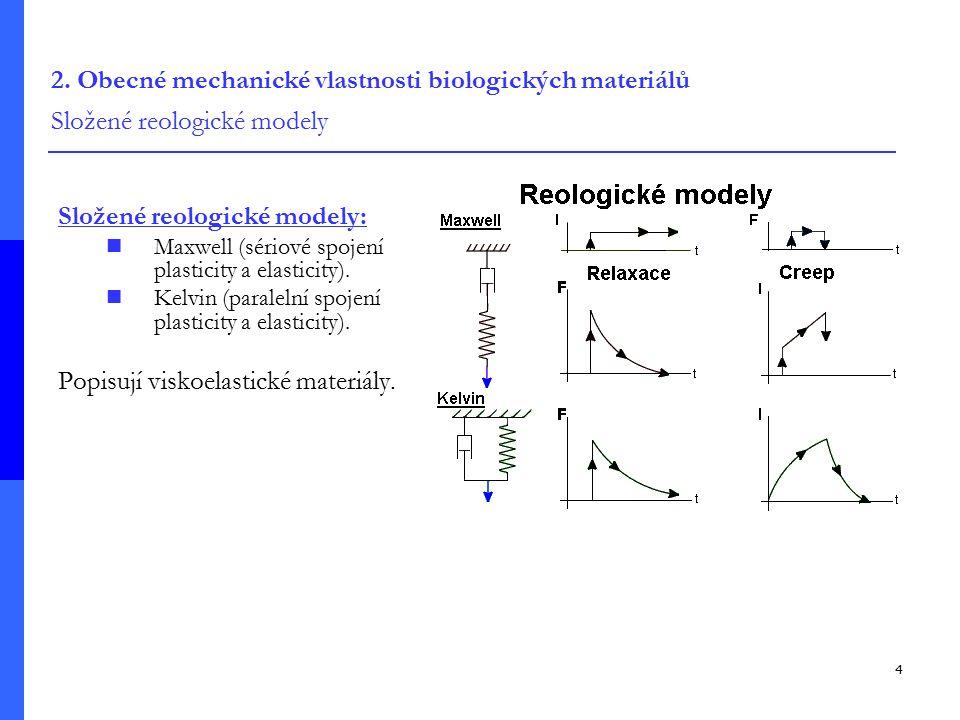 4 2. Obecné mechanické vlastnosti biologických materiálů Složené reologické modely Složené reologické modely: Maxwell (sériové spojení plasticity a el