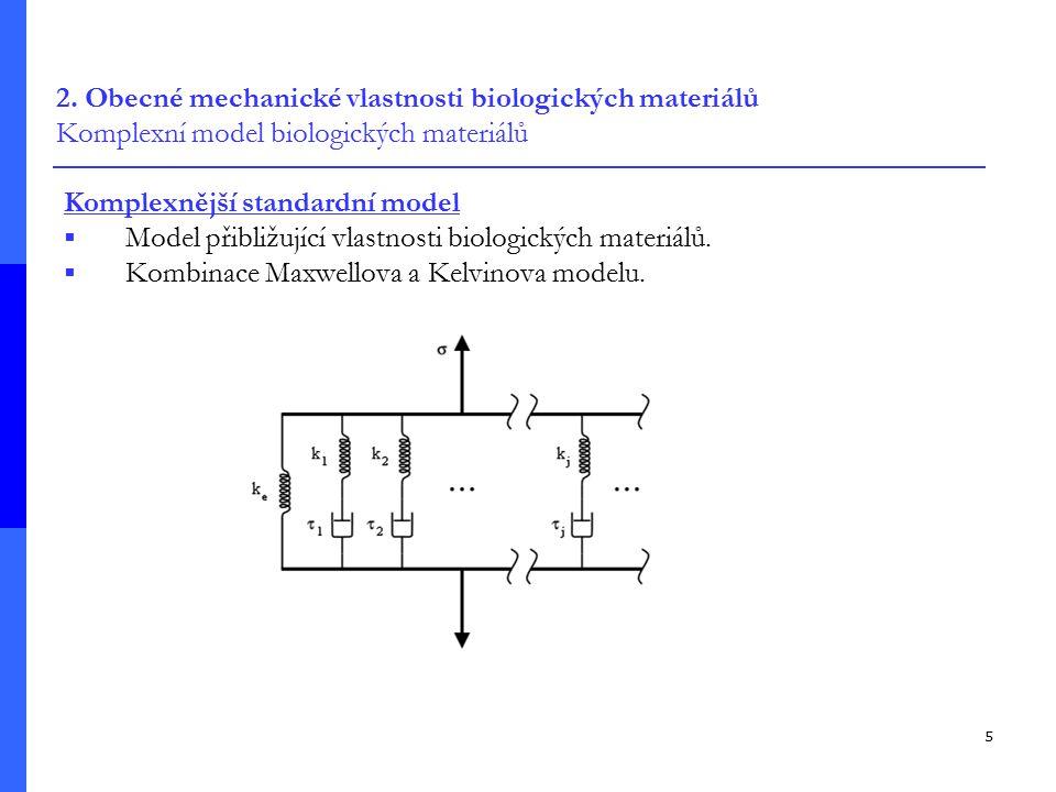 5 2. Obecné mechanické vlastnosti biologických materiálů Komplexní model biologických materiálů Komplexnější standardní model  Model přibližující vla