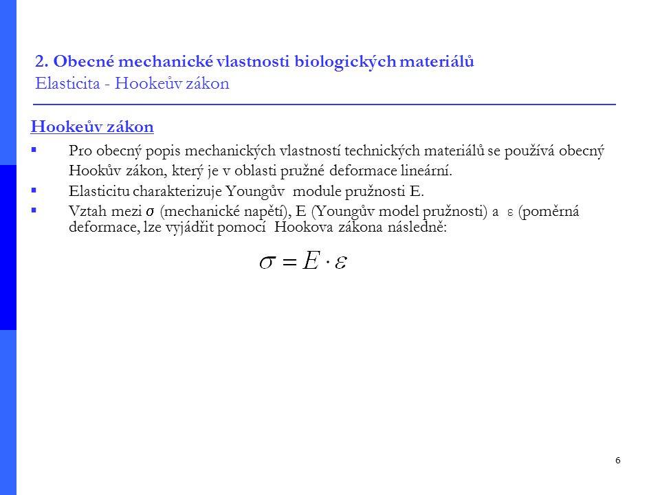6 2. Obecné mechanické vlastnosti biologických materiálů Elasticita - Hookeův zákon Hookeův zákon  Pro obecný popis mechanických vlastností technický