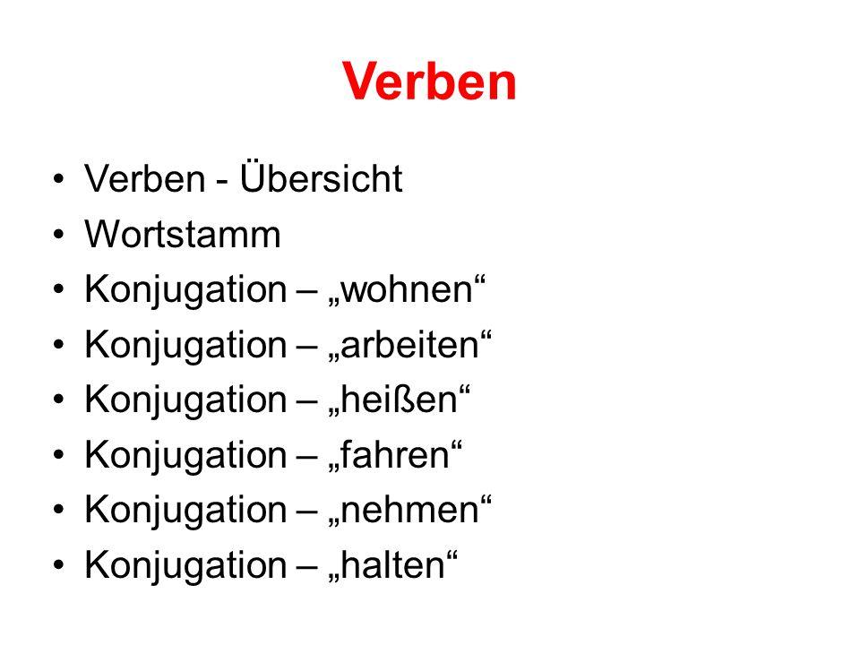 """Verben Verben - Übersicht Wortstamm Konjugation – """"wohnen"""" Konjugation – """"arbeiten"""" Konjugation – """"heißen"""" Konjugation – """"fahren"""" Konjugation – """"nehme"""
