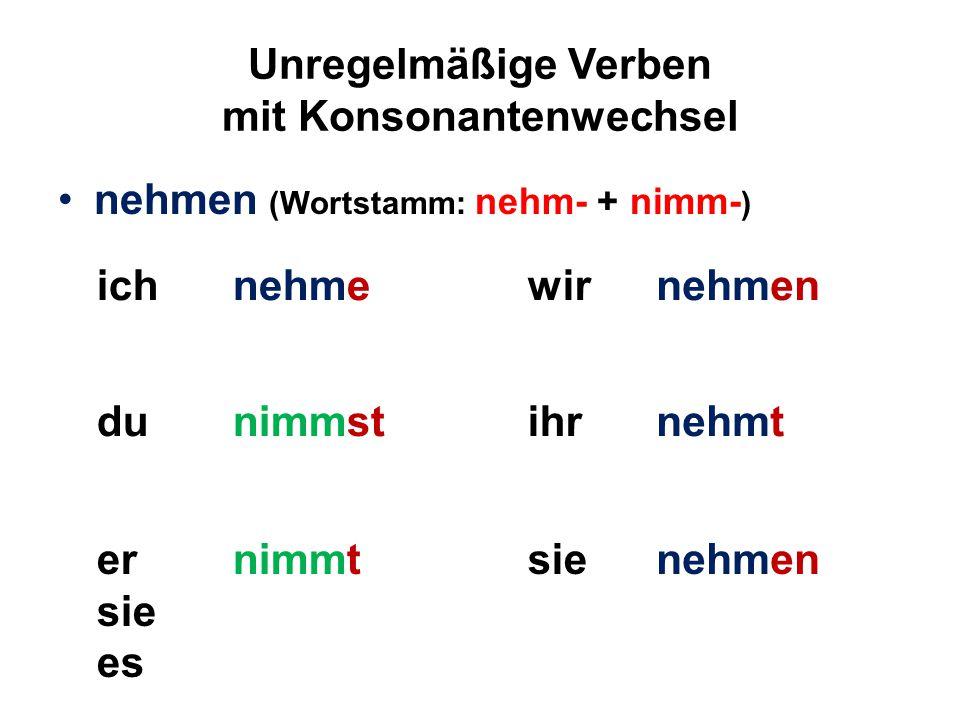 Unregelmäßige Verben mit Konsonantenwechsel nehmen (Wortstamm: nehm- + nimm- ) ichnehmewirnehmen dunimmstihrnehmt er sie es nimmtsienehmen