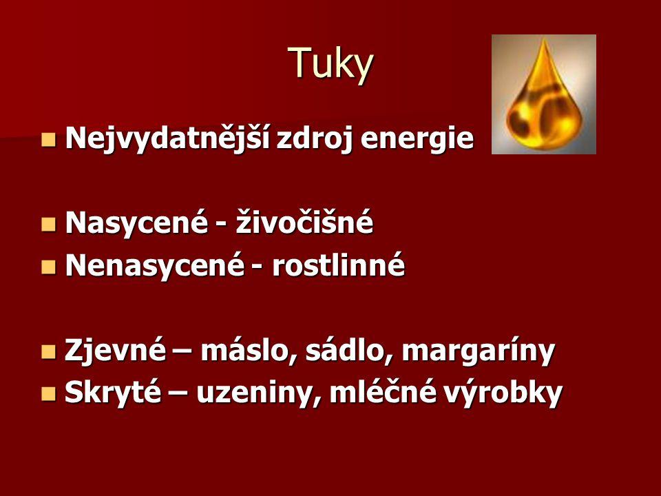 Tuky Nejvydatnější zdroj energie Nejvydatnější zdroj energie Nasycené - živočišné Nasycené - živočišné Nenasycené - rostlinné Nenasycené - rostlinné Z