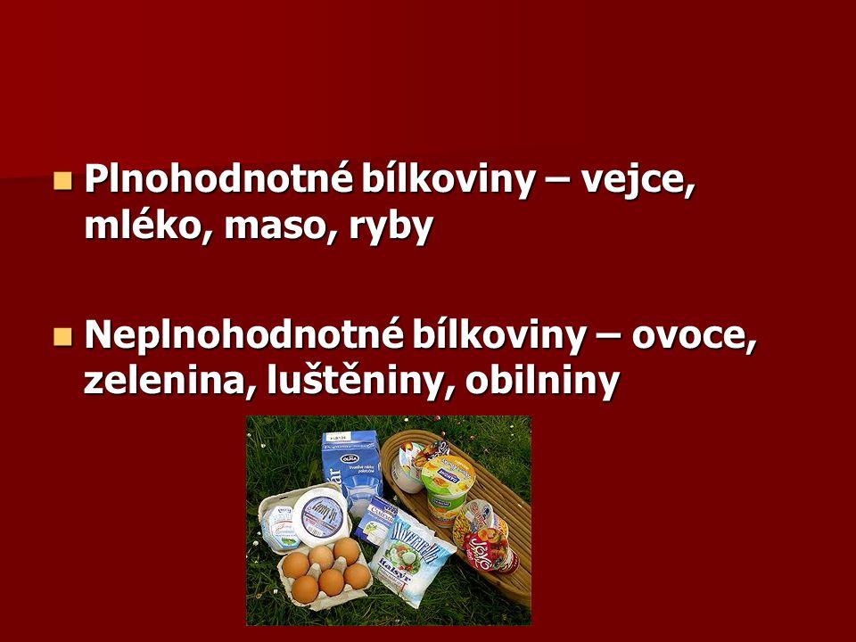 Plnohodnotné bílkoviny – vejce, mléko, maso, ryby Plnohodnotné bílkoviny – vejce, mléko, maso, ryby Neplnohodnotné bílkoviny – ovoce, zelenina, luštěn