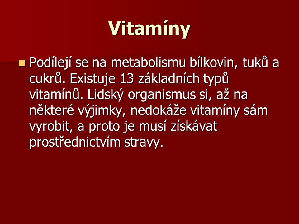 Vitamíny Podílejí se na metabolismu bílkovin, tuků a cukrů. Existuje 13 základních typů vitamínů. Lidský organismus si, až na některé výjimky, nedokáž