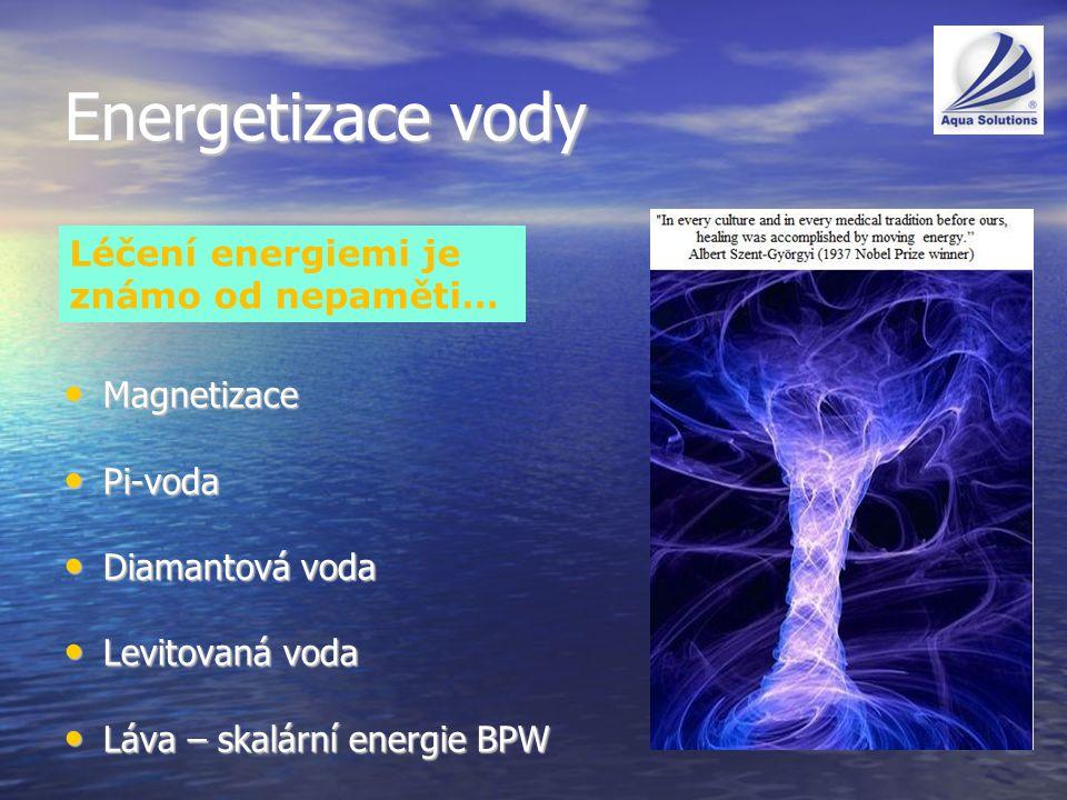 Energetizace vody Magnetizace Magnetizace Pi-voda Pi-voda Diamantová voda Diamantová voda Levitovaná voda Levitovaná voda Láva – skalární energie BPW