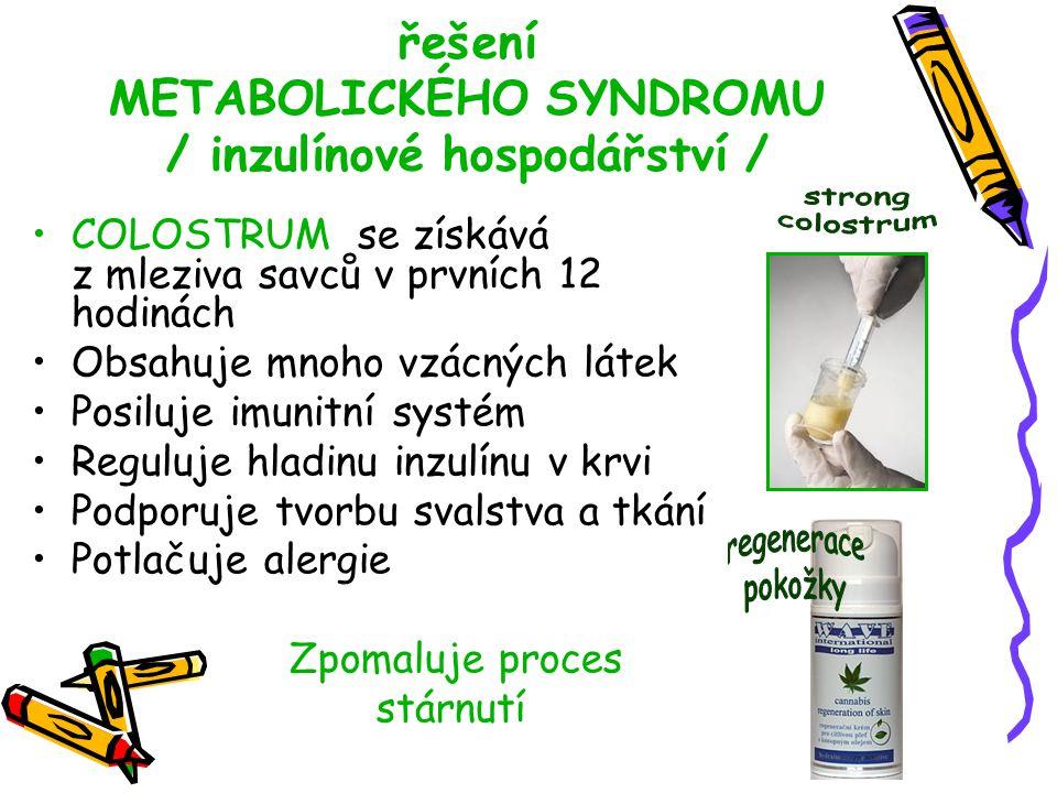 řešení METABOLICKÉHO SYNDROMU / inzulínové hospodářství / COLOSTRUM se získává z mleziva savců v prvních 12 hodinách Obsahuje mnoho vzácných látek Pos