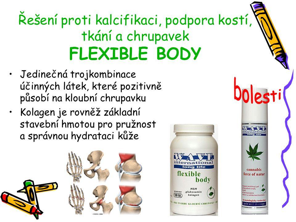 Řešení proti kalcifikaci, podpora kostí, tkání a chrupavek FLEXIBLE BODY Jedinečná trojkombinace účinných látek, které pozitivně působí na kloubní chr