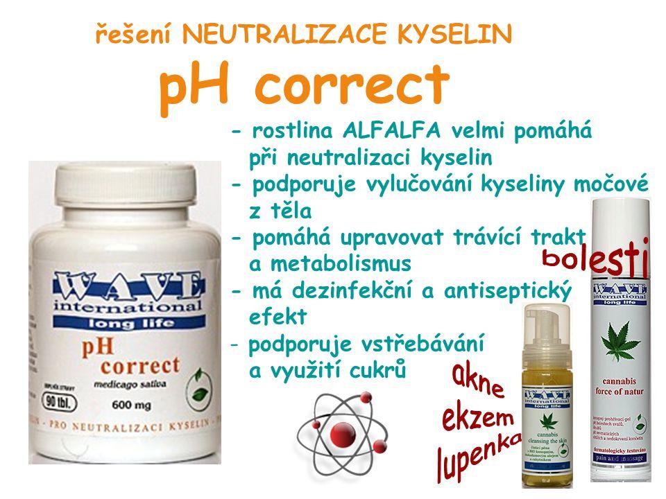řešení NEUTRALIZACE KYSELIN pH correct - rostlina ALFALFA velmi pomáhá při neutralizaci kyselin - podporuje vylučování kyseliny močové z těla - pomáhá
