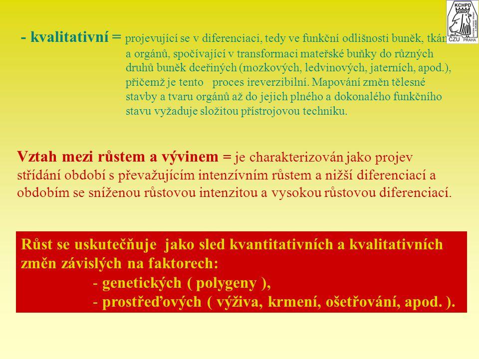 - kvalitativní = projevující se v diferenciaci, tedy ve funkční odlišnosti buněk, tkání a orgánů, spočívající v transformaci mateřské buňky do různých
