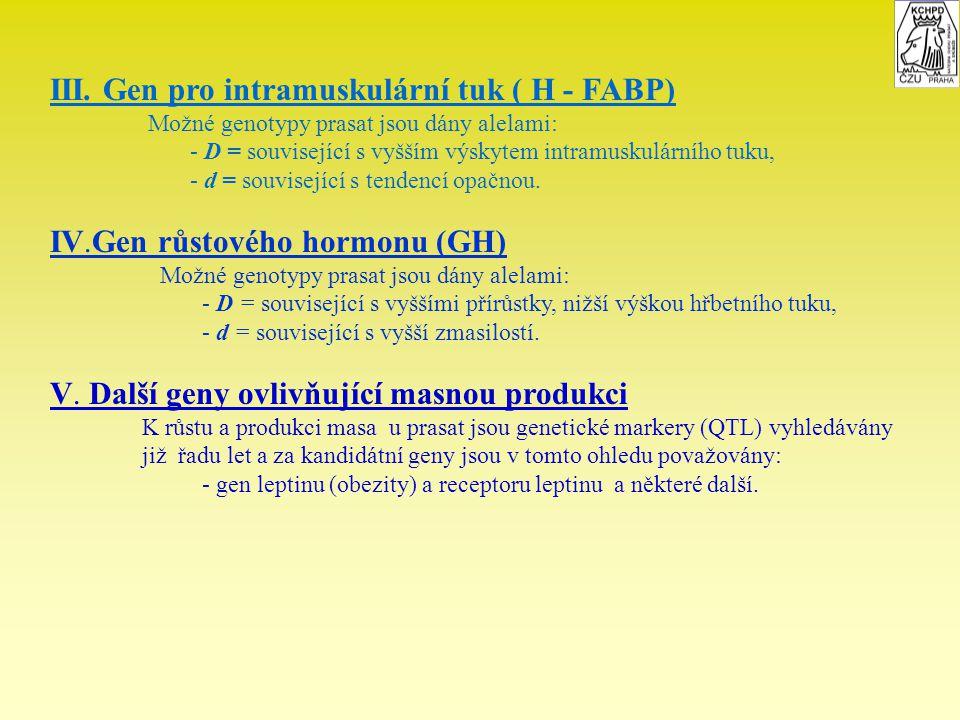 III. Gen pro intramuskulární tuk ( H - FABP) Možné genotypy prasat jsou dány alelami: - D = související s vyšším výskytem intramuskulárního tuku, - d