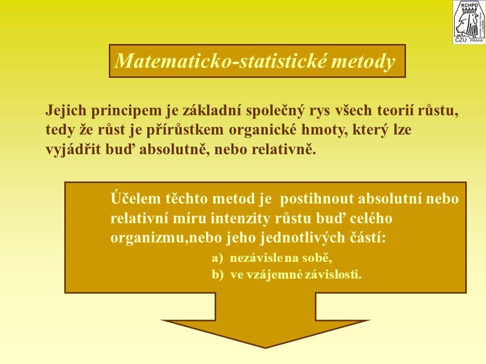 Matematicko-statistické metody Jejich principem je základní společný rys všech teorií růstu, tedy že růst je přírůstkem organické hmoty, který lze vyj