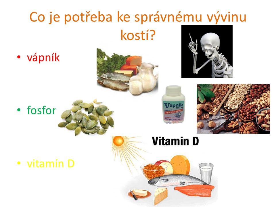 Co je potřeba ke správnému vývinu kostí? vápník fosfor vitamín D