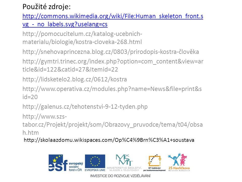 Použité zdroje: http://commons.wikimedia.org/wiki/File:Human_skeleton_front.s vg_-_no_labels.svg?uselang=cs http://pomocucitelum.cz/katalog-ucebnich-