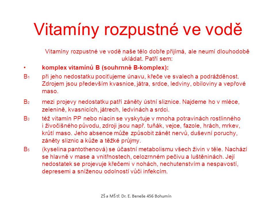 Vitamíny rozpustné ve vodě Vitamíny rozpustné ve vodě naše tělo dobře přijímá, ale neumí dlouhodobě ukládat.