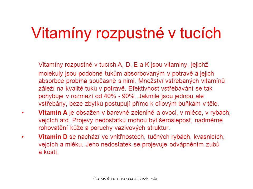 Vitamíny rozpustné v tucích A, D, E a K jsou vitaminy, jejichž molekuly jsou podobné tukům absorbovaným v potravě a jejich absorbce probíhá současně s nimi.