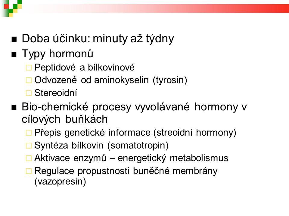 Doba účinku: minuty až týdny Typy hormonů  Peptidové a bílkovinové  Odvozené od aminokyselin (tyrosin)  Stereoidní Bio-chemické procesy vyvolávané hormony v cílových buňkách  Přepis genetické informace (streoidní hormony)  Syntéza bílkovin (somatotropin)  Aktivace enzymů – energetický metabolismus  Regulace propustnosti buněčné membrány (vazopresin)