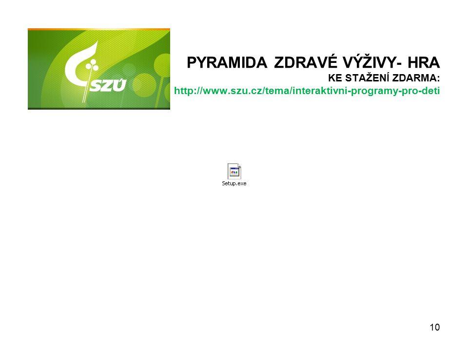 PYRAMIDA ZDRAVÉ VÝŽIVY- HRA KE STAŽENÍ ZDARMA: http://www.szu.cz/tema/interaktivni-programy-pro-deti 10