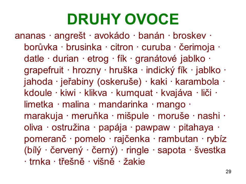 DRUHY OVOCE ananas · angrešt · avokádo · banán · broskev · borůvka · brusinka · citron · curuba · čerimoja · datle · durian · etrog · fík · granátové